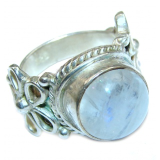 Rainbow Moonstone .925 Sterling Silver handmade Ring size 6