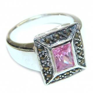 Fantastic Created Pink Kunzite Sterling Silver ring s. 7 1/2