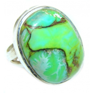 Huge Green Turquoise .925 Sterling Silver handcrafted ring; s. 6