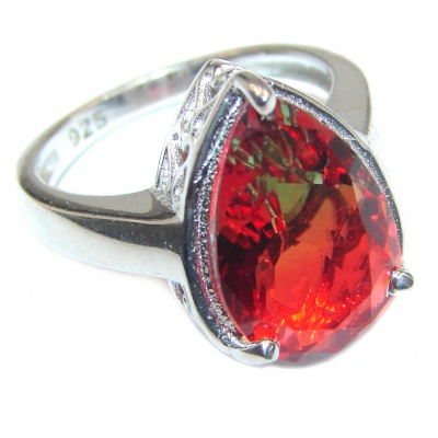 HUGE pear cut Pink Tourmaline 18K Gold over .925 Sterling Silver handcrafted Ring s. 6 1/2