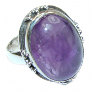 45ctw Purple Arfican Amethyst .925 Sterling Silver Ring size 10