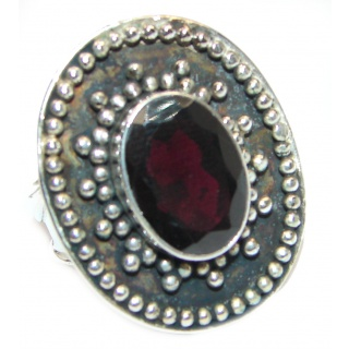 Genuine Garnet .925 Sterling Silver handcrafted Statement Ring size 9 1/4
