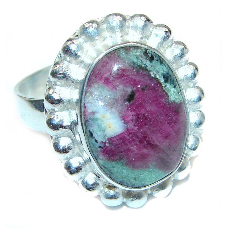Exotic Ruby In Zoisite Sterling Silver Ring s. 11 1/2