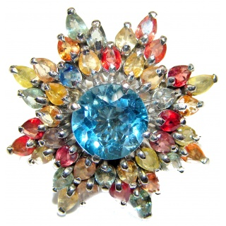 Melissa Genuine Swiss Blue Topaz Sapphire .925 Sterling Silver handcrafted Statement Ring size 6
