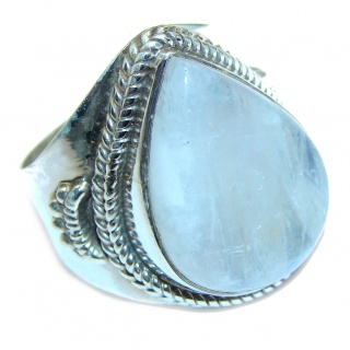 Rainbow Moonstone .925 Sterling Silver handmade Ring size 9