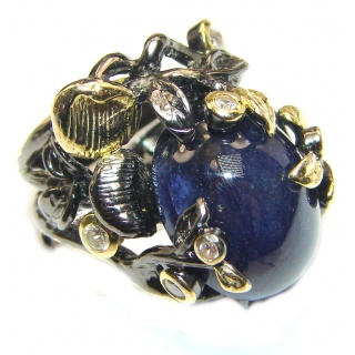 Large Genuine 45ctw Sapphire 18K Gold over .925 Sterling Silver handcrafted Statement Ring size 8 adjustable