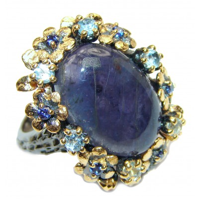 Chunky Authentic African Tanzanite 14K Gold over .925 Sterling Silver handmade Ring s. 8 1/2