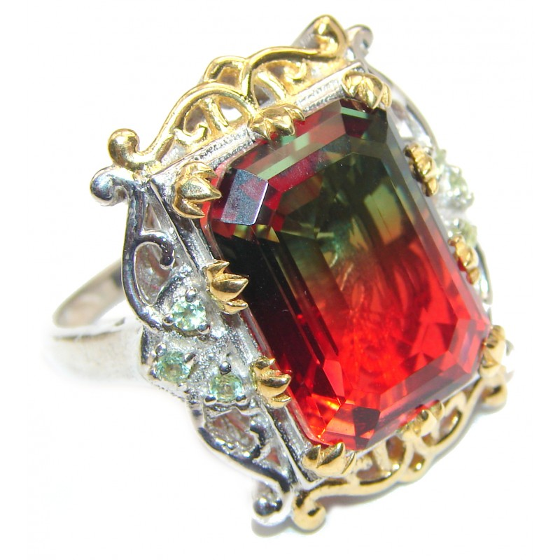 Huge Top Quality Volcanic Pink Tourmaline color Topaz .925 Sterling Silver handcrafted Ring s. 9 1/2