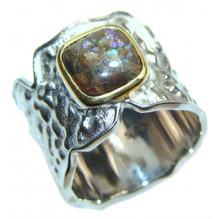 Outstanding Genuine Canadian Ammolite 18K Gold over .925 Sterling Silver handmade ring size 5 1/2