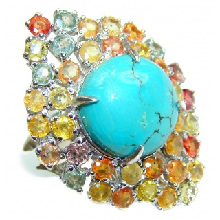 Large Turquoise multicolor Sapphire .925 Sterling Silver ring; s. 9