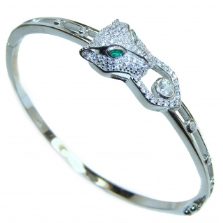 Luxury Emerald panther .925 Sterling Silver handmade Bracelet