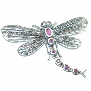 Incredible Dragonfly Natural Ruby 925 Sterling Silver Pendant Brooch
