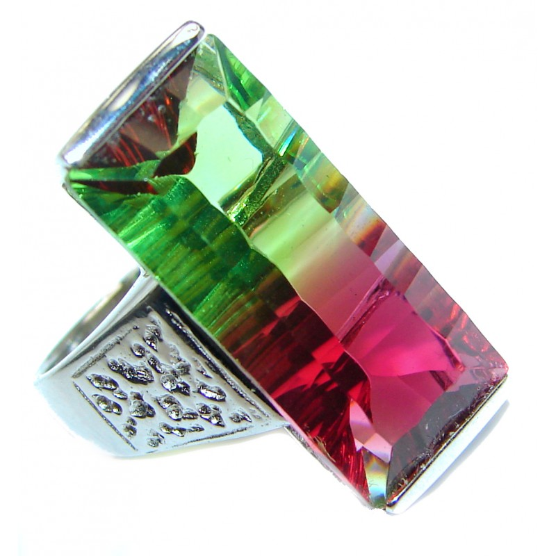 Spectacular Natural Baquette cut Tourmaline .925 Sterling Silver handcrafted ring size 6 3/4