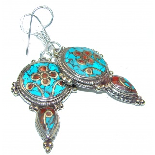 Solid Copper Blue Turquoise .925 Sterling Silver earrings