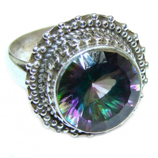 Perfect Mystic Topaz Sterling Silver Ring s. 7 1/2