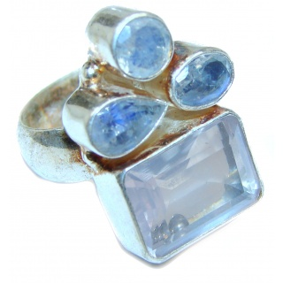 Princess Cut 25ctw Rose Quartz Rose Gold over .925 Sterling Silver brilliantly handcrafted ring s. 7 3/4