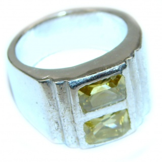 Vintage Style Natural Citrine .925 Sterling Silver handcrafted Ring s.6 1/2