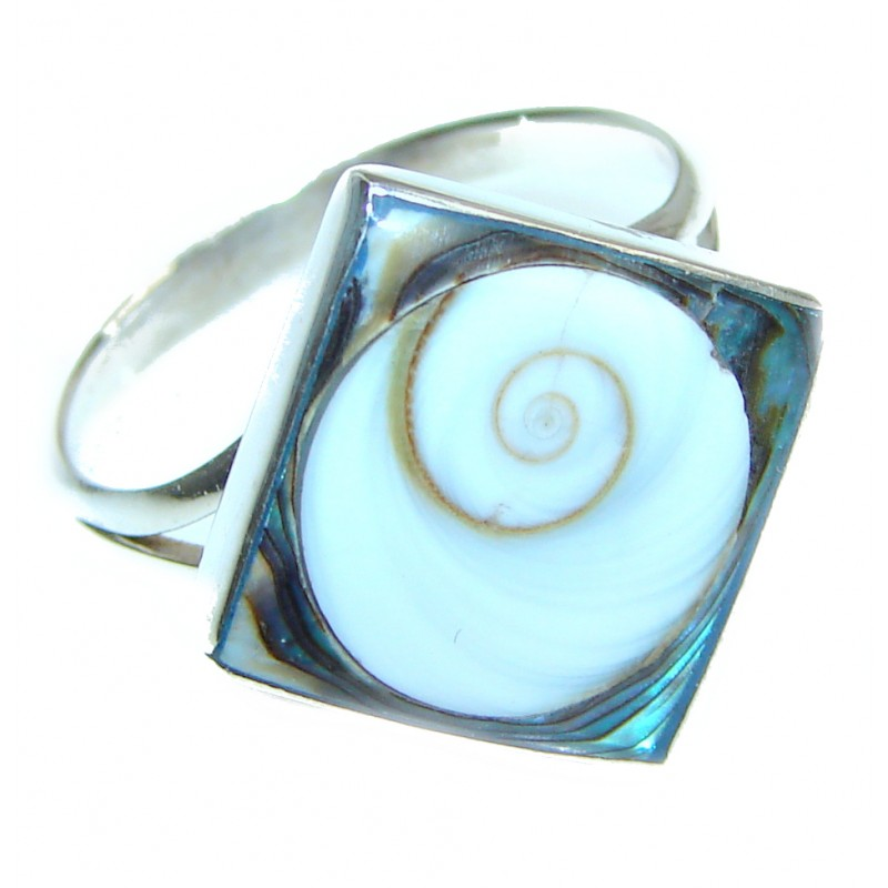 Great Ocean Shell Sterling Silver Ring s 8 1/2