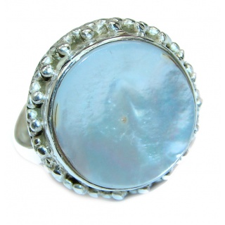 Blister Pearl .925 Sterling Silver handmade ring size 10