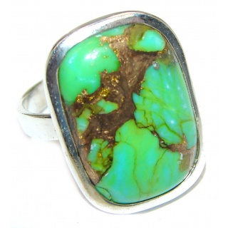 Huge Green Turquoise .925 Sterling Silver handcrafted ring; s. 8