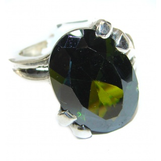 Huge Authentic green Quartz .925 Sterling Silver handcrafted ring s. 7