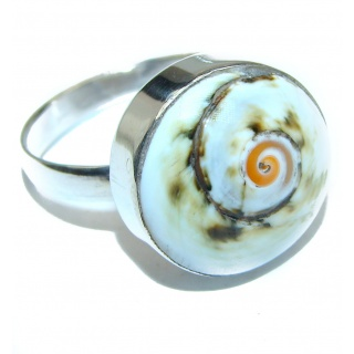Great Ocean Shell Sterling Silver Ring s. 8
