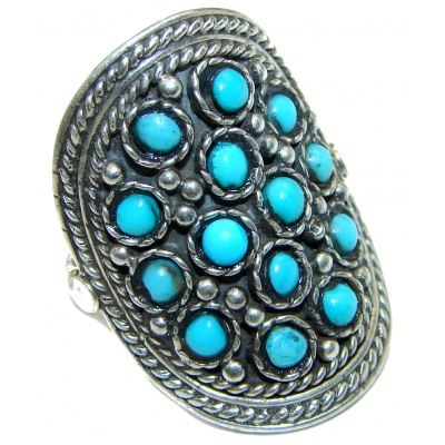 Natural Turquoise .925 Sterling Silver handmade ring s. 8 1/2