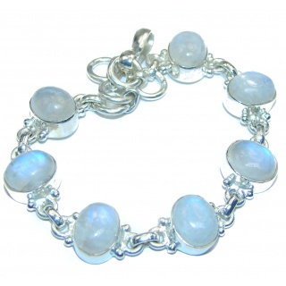 Fire Moonstone .925 Sterling Silver handcrafted Bracelet