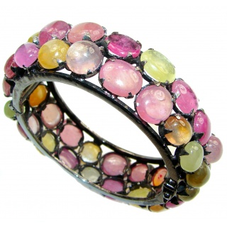 Luxury 452ctw (total carat weight) authentic Brazilian Watermelon Tourmaline .925 Sterling Silver handmade Bracelet