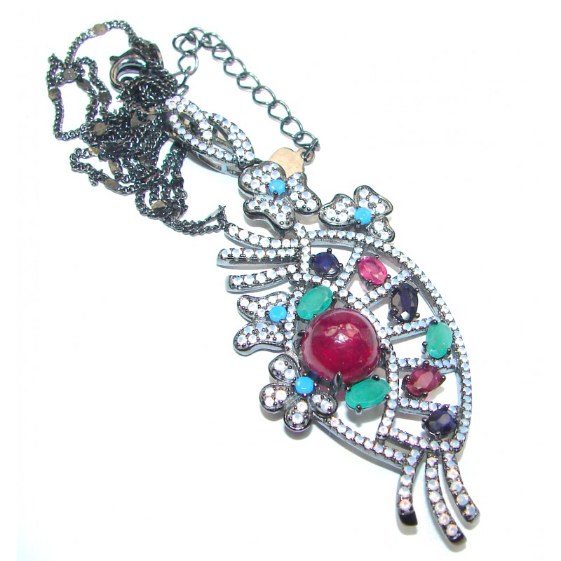 Princess Incredible Authentic Ruby black rhodium over .925 Sterling Silver necklace