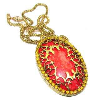 Large Master Piece Red Jasper Gold Plkated Over Brass .925 Sterling Silver brilliantly handcrafted necklace