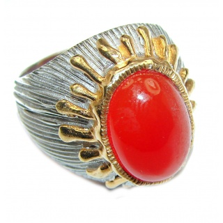 Large Natural Carnelian 18K Gold over .925 Sterling Silver handcrafted ring size 8