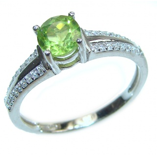 Aurora Spectacular Natural Peridot .925 Sterling Silver handcrafted ring size 9