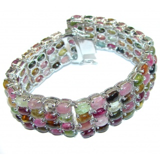 Luxury 322ctw (total carat weight) authentic Brazilian Watermelon Tourmaline .925 Sterling Silver handmade Bracelet