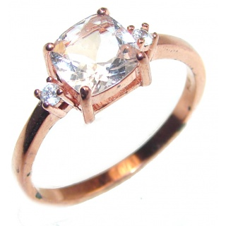 Exceptional Morganite 14K Rose Gold over .925 Sterling Silver handcrafted ring s. 8 1/4