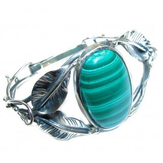 Eternal Paradise 42.8 grams Natural Malachite highly polished .925 Sterling Silver handcrafted Bracelet