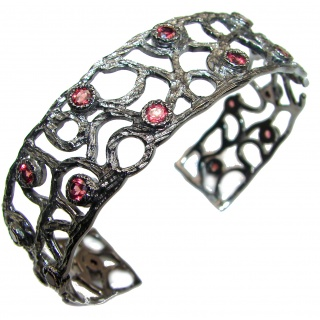 Secret Beauty authentic Garnet black rhodium over .925 Sterling Silver handcrafted Bracelet