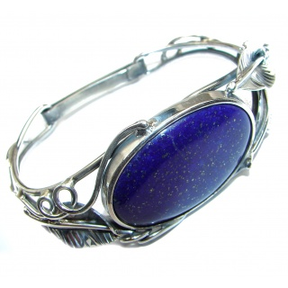Blue Waves Lapis Lazuli Oxidized .925 Sterling Silver handcrafted Bracelet