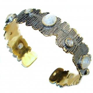 Real Treasure Fire Moonstone Gold Rhodium over .925 Sterling Silver Bracelet / Cuff