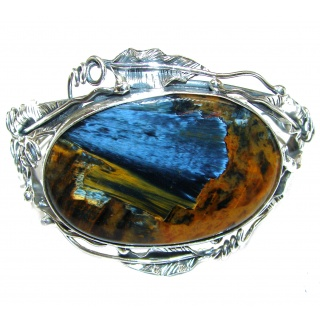 Huge Genuine Silky Golden Pietersite .925 Sterling Silver handmade Bracelet