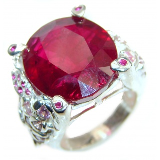 Large 65ctw Mesmerizing Ruby .925 Sterling Silver handmade Ring size 5 3/4
