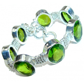 Huge Green quartz .925 Sterling Silver handcrafted Bracelet
