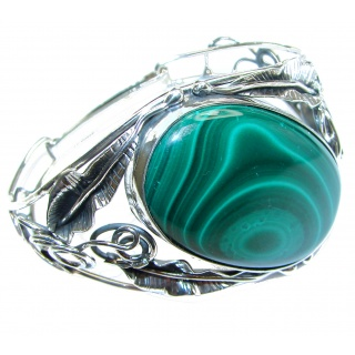 Eternal Paradise 47.5 grams Natural Malachite highly polished .925 Sterling Silver handcrafted Bracelet