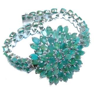Precious natural Emerald .925 Sterling Silver handcrafted Bracelet
