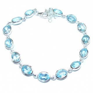 True Fine Art Swiss Blue Topaz .925 Sterling Silver handcrafted Bracelet