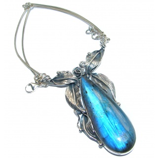 Luxury Design 285 ct Labradorite .925 Sterling Silver entirely handcrafted necklace