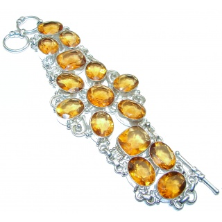 Large Golden Quartz .925 Sterling Silver handmade Bracelet