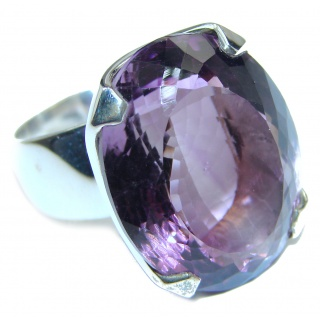 Massive 35ctw Purple Perfection Amethyst .925 Sterling Silver Ring size 8