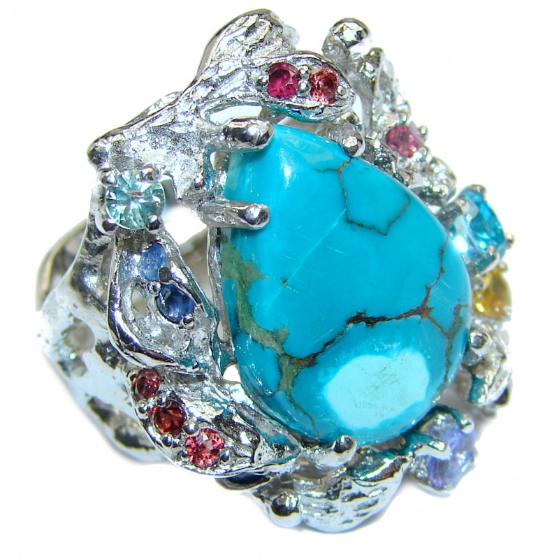 Large Authentic Turquoise .925 Sterling Silver handcrafted Ring s. 8