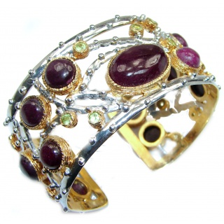 Enchanted Beauty Ruby 24K Gold over .925 Sterling Silver antique patina Bracelet / Cuff